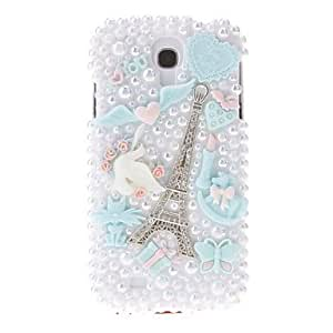 SOL ships in 48 hours Pearl and Embossed Towers Pattern Hard Back Cover Case with Glue for Samsung Galaxy S4 I9500 , Pink