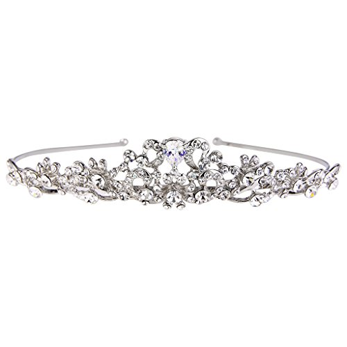 Vintage Silver Flower - EVER FAITH Women's Austrian Crystal Vintage Inspired Flower Knot Hair Band Tiara Clear Silver-Tone
