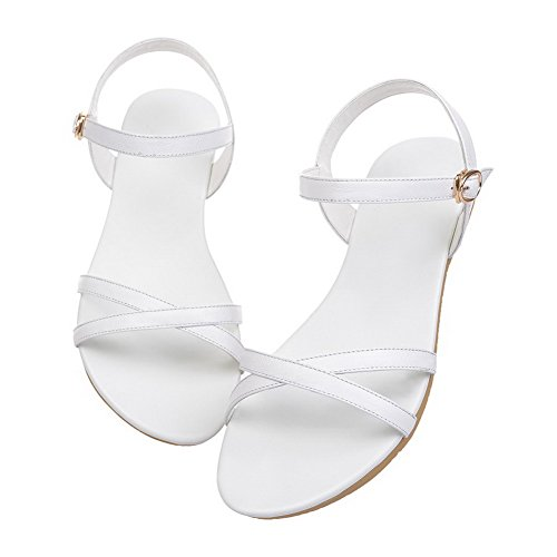 AllhqFashion Sólido Mini Tacón Hebilla Puntera Abierta Sandalias de vestir Blanco