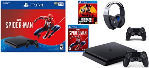 PlayStation 4 Slim 1TB Console Marvel's Spider-Man Bundle Plus Sony PS4 Platinum Wireless Headset, Additional Sony Dualshock 4 Wireless Controller and Red Dead Redemption 2