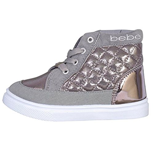 Price comparison product image bebe Toddler Girls High Top Sneakers with Metallic Quilting and Embroidery, Silver, 11/12