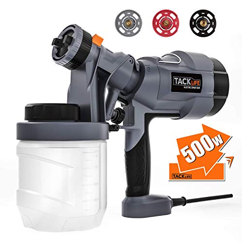 TACKLIFE Paint Sprayer 500 Watt, Electric Spray Gun with 3 size nozzles (1.0mm, 2.0mm, 2.5mm), Two copper cores with 3 Spray Patterns, 900 ml Paint Container-SGP18AC