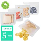 Reusable Sandwich Bags Clear Leakproof Reusable Storage Bags for Food 5 Pack Double Zip lock Silicone Snack Lunch Bags Travel Thick Reusable Bag 7.75'' X 8.5''