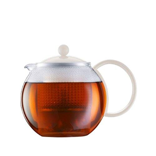 Bodum Assam - Modern Tea Pot - Dishwasher Safe - Heat-Resistant Glass and Plastic - Off White