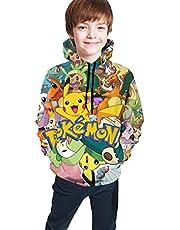 Marcus Roberta Pokemon Pikachu Fashion Hoodie 3D Printed Casual Long Sleeve Sweatshirts for Kids Boys and Girls