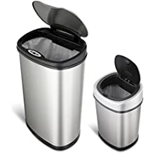 NINESTARS CB-DZT-50-1312-9 Automatic Touchless Motion Sensor Oval Trash Can Combo Set, 13.2 Gal. 50 L. & 3.2 Gal. 12 L., Stainless Steel