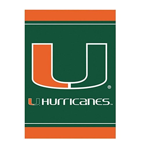 YQZsay Miami Hurricanes Official NCAA 12 Inch X 18 Inch Silk Screen House Flag by Evergreen