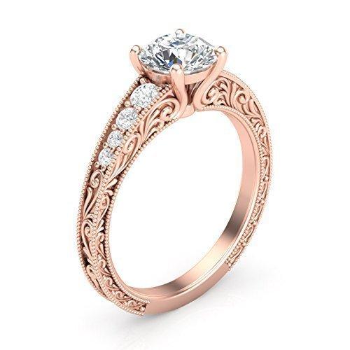(14K Rose Gold Vintage Engagement Ring Filigree Milgrain Art Deco Ring)