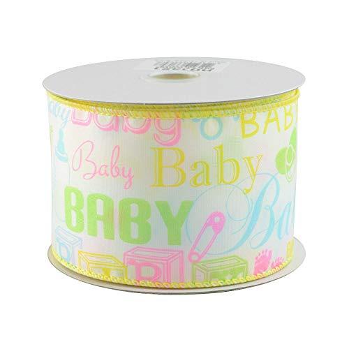 Pastel Baby Print Wired Ribbon - 2 1/2