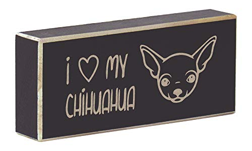Rustic Wood Magnet Pets Saying Laser Engraved I Heart My Chihuahua (Rustic Black)