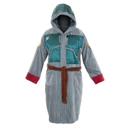 Star Wars Adult Terry Cloth Hooded Bath Robe (Grey Boba Fett)