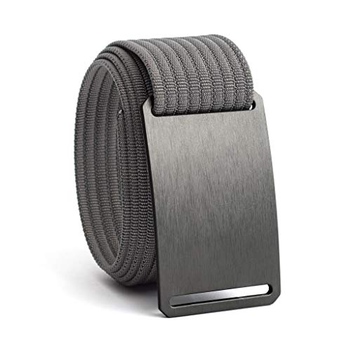 Men's Web Belt GRIP6 (34in Gunmetal w/Grey Strap) (The Best Golf Grip)