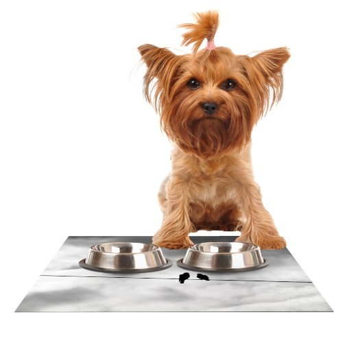Kess InHouse Debbra Obertanec Friendship  Black White Feeding Mat for Pet Bowl, 18 by 13-Inch