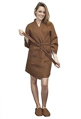 TowelRobes Thigh Length Waffle Weave Kimono Robes