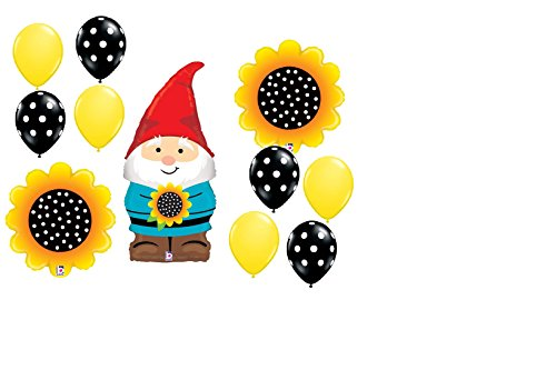 11pc BALLOON set GNOME with SUNFLOWERS polka DOTS garden PARTY favors FAIRY