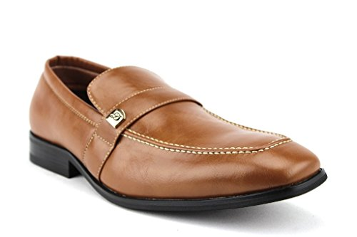 Mens 19501 Classic Toe Slip On Mocassini Scarpe Eleganti Marrone