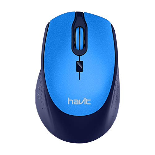 Havit 2.4G Wireless Mouse 2000DPI Optical Mini Portable Mobile with USB Receiver, 3 Adjustable DPI Levels, 4 Buttons for Notebook, PC, Laptop, Computer, MacBook (Blue)