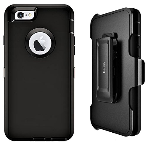 (ECL The Eagle, Case for Apple iPhone 6 Plus / 6s Plus, iPhone 6Plus Case, Tough Cover with Belt Clip Kickstand Holster and Built-in Screen Protector Case for Men and Women (Black/Black))