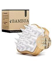 """BAMBUA Hoofdhuid massageborstel - [100% plasticvrij] Shampoo borstel van bamboe - anti-roos-effect - voor hoofdmassage tijdens het douchen - Premium hoofdmassage borstel - incl. e-book """"Gezonde hoofdhuid"""""""