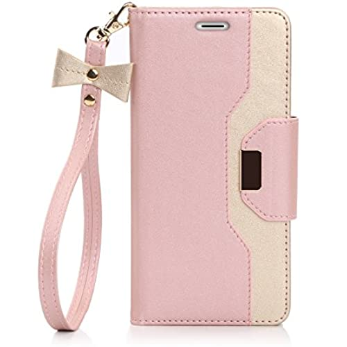 Samsung Galaxy S7 Edge Case, FYY Premium PU Leather Wallet Case with Cosmetic Mirror and Bow-knot Strap for Samsung Galaxy S7 Edge Pink & Gold Sales