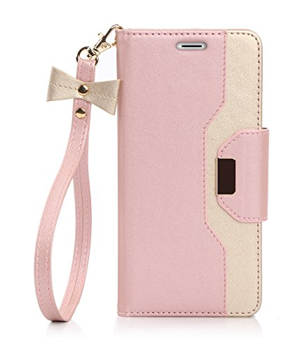 Galaxy S7 Edge Case, FYY Premium PU Leather Wallet Case with Cosmetic Mirror and Bow-knot Strap for Samsung Galaxy S7 Edge Pink & Gold