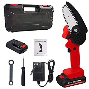 Gosear Mini Chainsaw,4inch 24V Portable Hand Chainsaw Cordless with Carrying Case for Courtyard Tree Branch Wood Cutting…