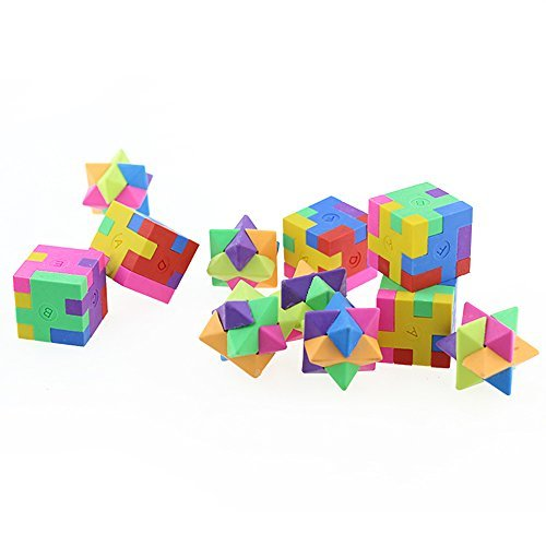 12pack Mseeur Mini Colorful 3D Shape Puzzle Pencil Erasers for School Supplies, Party Favors, Games & Activities.(two -