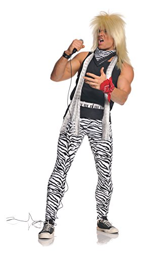 Underwraps Men's 80's Rocker, Zebra/Black, One Size