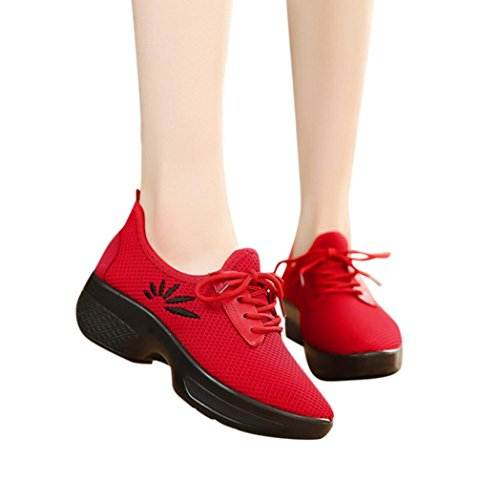 Haoricu Clearance Sport Shoes Women's Athletic Running Shoes Casual Mesh Embroidery Wedges Walking Sneakers (US:8.5, Red)