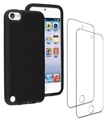 Ipod Touch Black Silicone - JNSA Black Silicone Soft Case for New iPod Touch/iPod Touch 6th Generation / 5th Generation,with HD Screen Protector 2 PCS, New iPod Touch Rubber Gel Slim Thin Anti Slip Cover Case (T5+2)