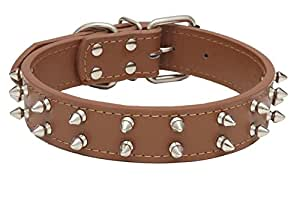 """Kid Dog Punk Rock Spiky Studded Dog Collar - 3 Colors, 2 Sizes - Tough Biker Look for Medium & Large Breeds - 1.25"""" Wide Faux Leather, Metal Spikes (16"""" - 20"""" (L), Brown)"""