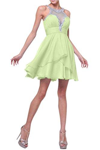 Chiffon Abendkleider Mini Hell mia Braut Wassermelon Gruen Kurzes Kleider La Partykleider Cocktailkleider Jugendweihe Ballkleider Aanqt1xAw