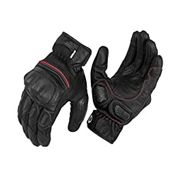 Rynox – Tornado Pro 3 Motorcycle Riding Gloves (Black-Red, Size: Small)