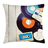 Ambesonne Indie Throw Pillow Cushion Cover, Gramophone Records and Old Audio Cassettes on Wooden Table Nostalgia Music, Decorative Square Accent Pillow Case, 18 X 18 Inches, Blue Orange Black