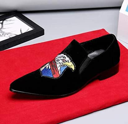 Lovdram Men S Leather Shoes Handmade Embroidery Loafers Red Bottom