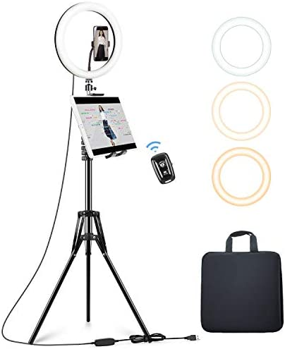 Elitehood 12'' Ring Light with Tripod Stand (72'' Tall) & iPad/Phone Holder, Dimmable Selfie Circle LED Lights Ringlight for Video Recording, Conference, Makeup, Laptop, Computer, Webcam, YouTube
