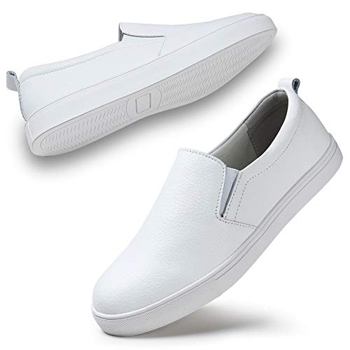 STQ Women's Fashion Sneakers Perforated Slip on Flats Comfortable Walking Casual Shoes White, 10.5 M US ()