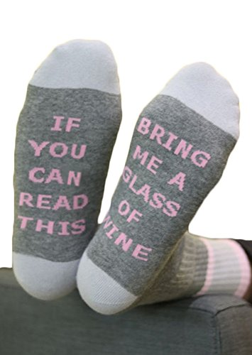 Pure Cotton If You Can Read This Bring Me A Glass Of Wine Tube Socks 1 Pair (Pink) (Unique Deliveries)