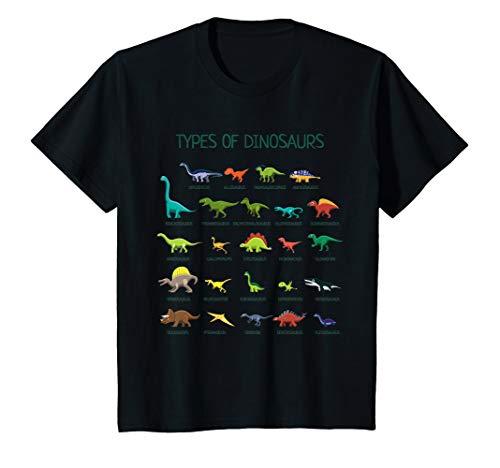 Kids Types Of Dinosaurs T-Shirt Dino Identification Tee ()