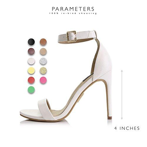 High Ankle Pump Evening Platform Open Buckle Women's Dress Casual Sandal White Strap Shoes Toe Heel Premium TqwPxxId