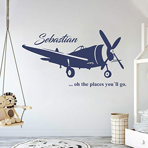 (Custom Name Transportation Theme - Airplane in The Sky for My Baby - Baby Boy/Girl - Wall Decal Nursery for Home Bedroom Children (AM) (Wide 40