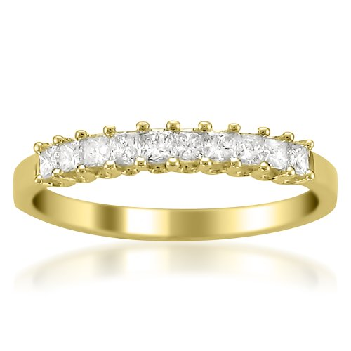 - 14k Yellow Gold Princess-cut Diamond Bridal Wedding Band Ring (1/2 cttw, H-I, I1-I2)
