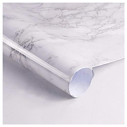 """Thick Waterproof Self-Adhesive Wallpaper Granite White/Gray Roll Removable Film Kitchen Contact Paper for Countertops Cabinet Wallpaper Furniture Renovated Marble Contact Paper (17.71""""x78.7"""") -"""
