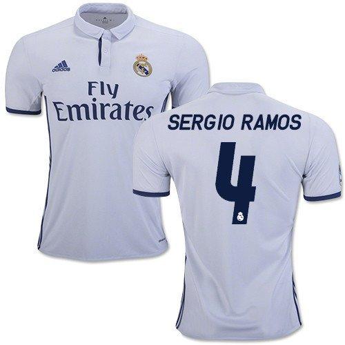 2016-17 Real Madrid Home Sergio Ramos #4 Mens Shirt (Medium ...
