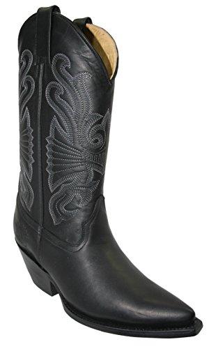 Grinders Herren Damen Buffalo Schwarz Cowboy-Western- Lederstiefel