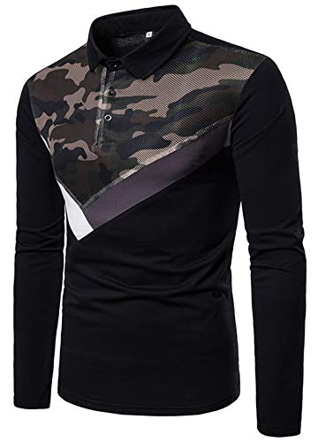 XTAPAN Men's Polo Shirt-Casual Long Sleeve Slim Fit Button Up Polo Cotton T Shirt L B16 Black