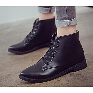RTRY Women'S Shoes Cowhide Nappa Leather Fall Winter Fashion Boots Combat Boots Boots Chunky Heel Booties/Ankle Boots For Casual Gray Black US8 / EU39 / UK6 / CN39 HdSAYr