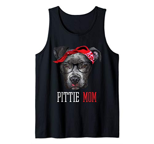 Tank Top Doggie T-shirt - Pittie Mom Pitbull Dog Doggy Lovers Mothers Day Gift Women Tank Top