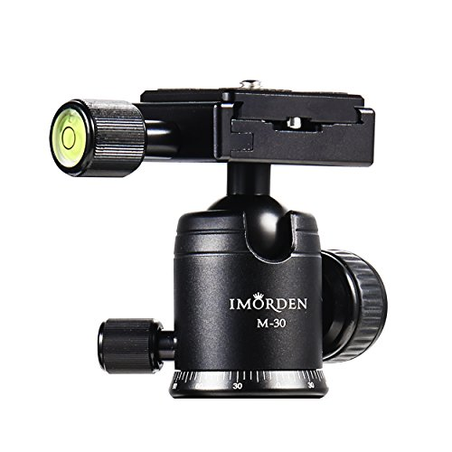IMORDEN M-30 Aluminium Tripod Ball Head Mount 360 Degree Fluid Rotation Tripod Ballhead Panoramic Ball Head with Arca Swiss Quick Release Plate