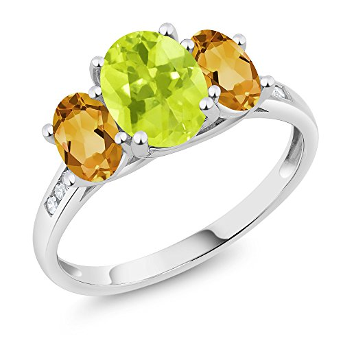 Lemon Citrine Ring (10K White Gold Diamond Accent Oval Yellow Lemon Quartz Yellow Citrine 3-Stone Ring 1.90 Ct, Available in size (5,6,7,8,9))